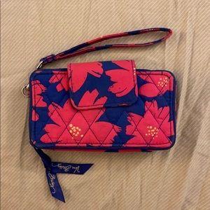 Vera Bradley pink and blue floral wristlet